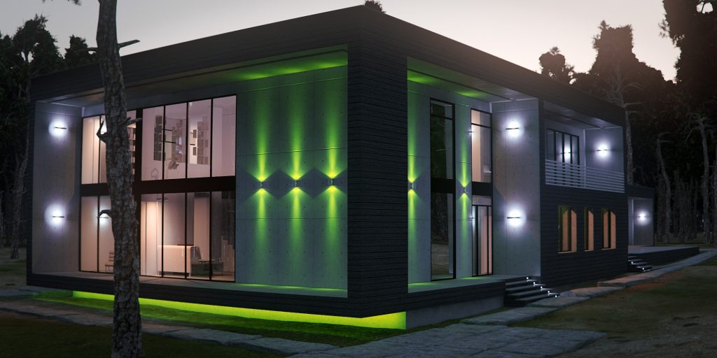 Освещение для фасада дома: как обустроить, какой тип освещения выбрать, безопасность, эстетичность, цвет светильников, атмосфера
